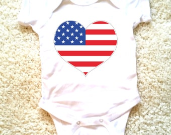 4th of July American flag heart graphic for babies, newborn, 6 months, 12 months, 18 months funny graphic baby onesie