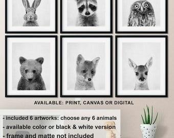 Woodland nursery prints set of 6, Woodland baby animals Black and white, Forest animals Nursery prints, Woodland Nursery animals Print/Canva