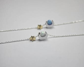 Opal Sun necklace,Sun moon star necklaceI love you to the moon and back jewelry,, luck ,white opal ball necklace,blue opal sun jewelry,gift