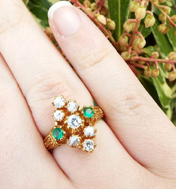 Vintage Victorian Style Gold Plated Glass Navette Marquise Cocktail Ring Size O