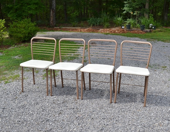 Vintage Cosco Folding Chair Set of 4 Beige White Ladderback