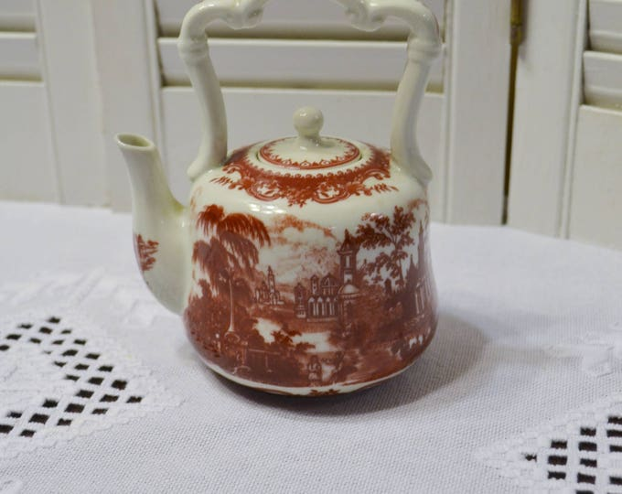 Vintage Red Transferware Teapot Countryside Scene Small Individual Size Teapot PanchosPorch