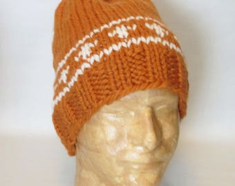 """Apricot Orange with Beige Fair Isle """"Longhorns"""" Winter Hat. Hand Knit Chunky Hat. Ships Free in the USA"""