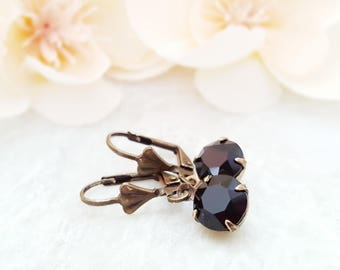 Black Crystal Earrings ~ Swarovski Black Earrings ~ Round Black Dangle Earrings ~ Black Rhinestone Jewelry ~ Jet Black Earrings Drop E3978