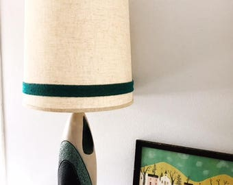 Mid-Century Modern Lamp with Shade - Teal, Black & Beige
