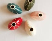 Ceramic bud vase. Small mothers day gift. Pink vase. Bright colors. Red vase. Olive green decor. Teal green. Made in Seattle. Gift under 40