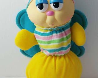 Hasbro Playskool Globug Gloworm Butterfly bug Plush Stuffed Toy 1980s (Missing Light)