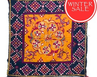 WINTER SALE - Vintage Textile - Vintage Chakla in Silk Bird and Flower design on Orange cotton