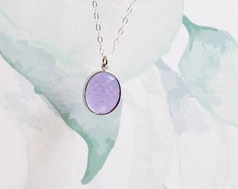 Lavender pendant, February birthstone crystal, Christmas gift for her, sterling silver chain