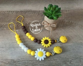 Pacifier Clip - Silicone Teething Choose Color - Baby Toy - Bite Beads Soother Clip - Chew Toy - Chewing Beads - Teething Toy - Daisy Flower