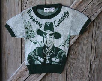 Original Hopalong Cassidy Green Short Sleeve Wool Knit Barclay Children's Sweater
