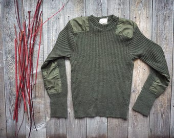 Vintage Brigade Quartermasters Woolly Pully Military Sweater - Army Green Wool Pullover - Made in England - Mens Small - Womens Medium Large
