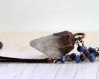 Crystal Pendant Electroformed Necklace Rosary Style Chain Wire Wrapped Sodalite Leather Necklace
