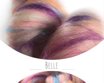"""Hand carded batt """"BELLE"""" with mulberry silk - spinning felting weaving"""
