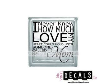 I Never Knew How Much Love My Heart Could Hold Until Someone Called Me Mom - Family Vinyl Lettering for Glass Blocks - Craft Decals