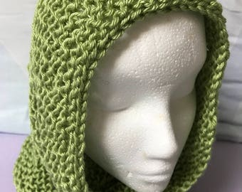 Green Infinity Scarf, Green Knit Cowl, Green Knit Hood, Infinity Cowl Scarf, Infinity Snood Scarf, Christmas Gift, Present for Her