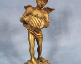 """Vintage 7"""" Brass Cherub Angel Figurine, Playing Accordion, Victorian"""