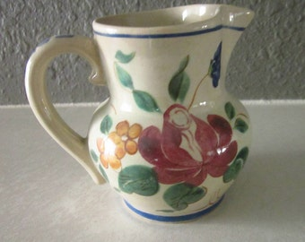 Vintage 1941 RED WING Pottery Orleans Creamer Floral On White Hand Painted (PayPal Only)