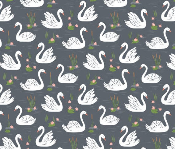 Swans fabric childrens fabric by the yard organic cotton minky for Childrens cotton fabric by the yard