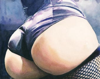 """Signed Giclée Art Print by Vanessa Walsh, """"Swoon"""", Erotic Art Print, Fetish Art, Booty and fishnets"""