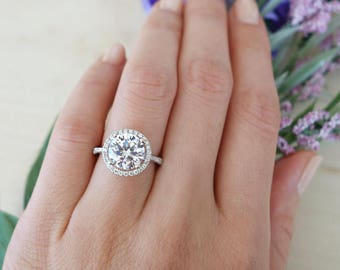 3.25 ctw Classic Halo Engagement Ring, Man Made Diamond Simulants, Round Wedding Ring, Bridal Ring, Half Eternity Ring, Sterling Silver