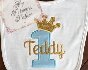 Personalized Prince Crown 1st Birthday Bib