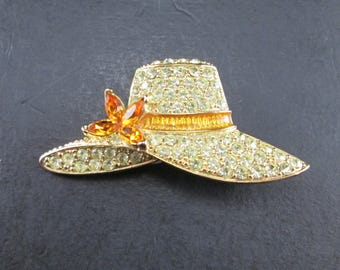 Vintage Monet Rhinestone Hat Brooch Pin Gold Tone Clear and Orange Rhinestones Summer Hat Wide Brimmed Hat with Flower Signed