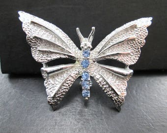 Vintage Silver Tn & Blue Rhinestone Butterfly Brooch Pin by Gerry's Signed