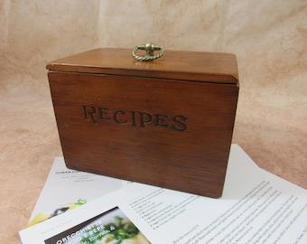 Vintage Wooden Recipe Box File Box Kitchen Storage Organization Kitchen Decor