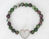 Clearance Sale! Ruby Zoisite Stretch Bracelet, Crystal Stretch Bracelets, Heart Charm Bracelets, Metaphysical
