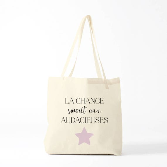 Canvas bag, french quote about luck, novelty gift, gift coworker, gift sister.
