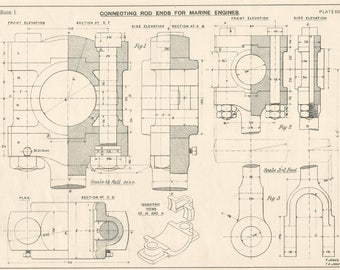 Blueprint drawing etsy connecting rod marine engines 1920s vintage industrial print engineering drawings blueprint art plan gift home malvernweather Image collections