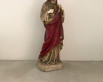 Chalkware Jesus LARGE antique religious statue sacred heart