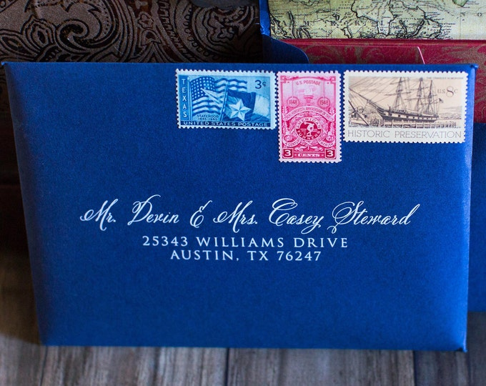 5x7 (Other Sizes & Colors Available) Navy and White Wedding Calligraphy Address Envelope Printing, ENVELOPES INCLUDED