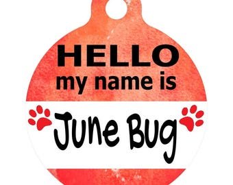 Personalized Round Pet ID Tag-In Bright Red | Custom Pet ID Tag | Dog Collar Name Tag | Double Sided | HELLO my name is