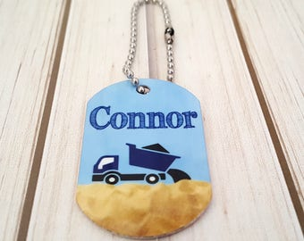 Boys's Mini Dump Truck Bag Tag | Lunch Box Tag | Backpack Tag |  Zipper Pull | With Custom Info on the Back