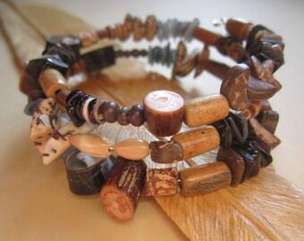 Natural Wood Shell Vine Bead Wrap Bracelet Bangle Original Design-Unique