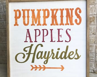Pumpkins Apples Hayrides One Time Use Vinyl STENCIL ONLY