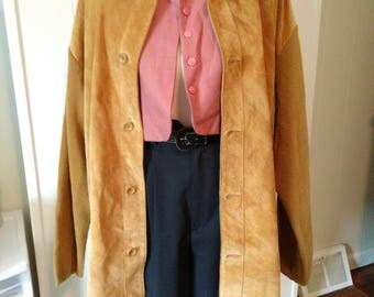 Gorgeous camel suede and knit Baracuta jacket