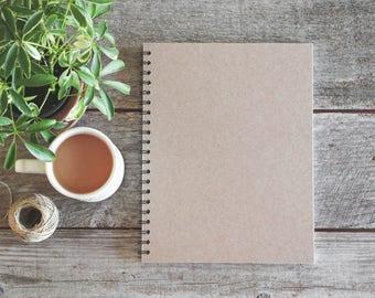 Rustic Brown Notebook, Rustic Wedding Guestbook, Plain Spiral Sketchbook, Kraft Notebook Chipboard, Notebook Blank Pages,Journal Lined Pages