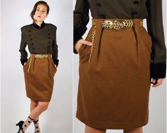 1980's Pencil Skirt - High Waisted Skirt - Brown Fall Skirt - Size Small