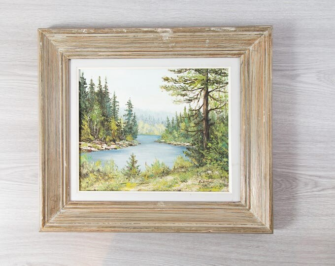 Antique Framed Painting on Board / E. Horst Art / Rustic Country Scene with River, Rocks, Sky and Trees