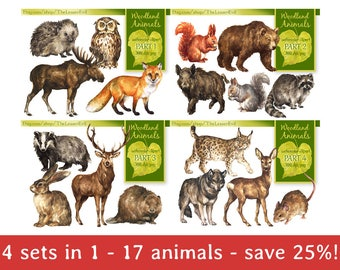 FULL PACK Woodland Animals Clipart, Digital Watercolor, Forest animal Clip Art, Hand-painted Realistic Illustration, Commercial use