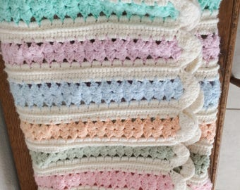 """Vtg Crocheted 60"""" x 44"""" Baby Afghan White, Yellow, Pink, Peach Blue Green"""