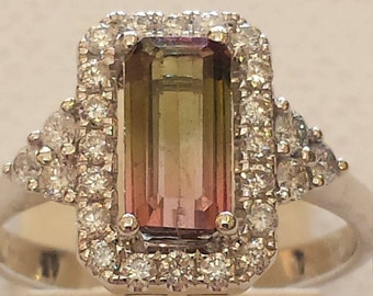 18 K white gold watermelon tourmaline and diamond ring