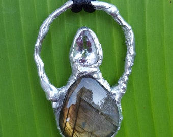 Reiki infused handcrafted OOAK soldered labradorite and faceted amethyst pendant with necklace cord