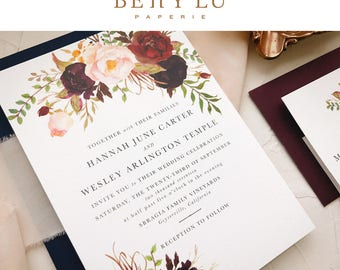Bohemian Wedding Invitation Suite, Boho Wedding Invite, Boho Chic Wedding Invitation, Invitation Suite Spring Summer, Floral, Marsala