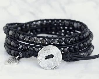 Black Wrap Bracelet, Black Leather Wrap, Wrap Bracelet, Black Jasper Beads, Black and Silver Bracelet, Silver Button, Boho Wrap Bracelet