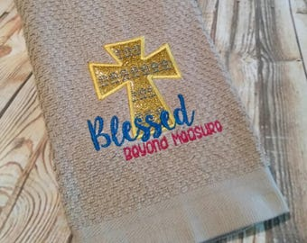Blessed Beyond Measure - Cross - Applique - Towel Design - 2 Sizes Included - Embroidery Design -   DIGITAL Embroidery DESIGN