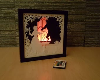 Belle Beauty and the Beast / Paper Cut Light Box Art / Handmade Paper Silhouette Shadowbox / Multi Colored LED Remote / Night Light For Home